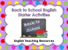 Back to School English Starter Activities