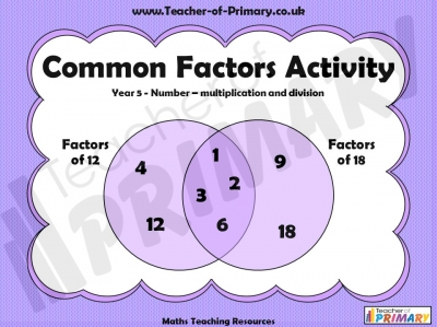 Common Factors Activity - Year 5