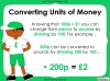 Converting and Comparing Units of Money - Year 4 (slide 5/38)