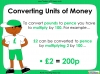 Converting and Comparing Units of Money - Year 4 (slide 6/38)