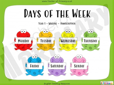 Days of the Week - Year 1