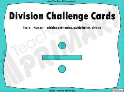 Division Challenge Cards - Year 6
