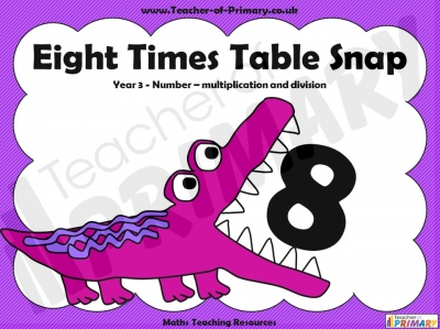 Eight Times Table Snap teaching resource