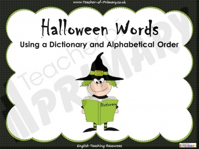 Halloween Words - Using a Dictionary