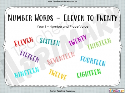 Number Words - Eleven to Twenty