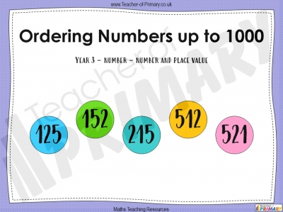 Ordering Numbers up to 1000 - Year 3