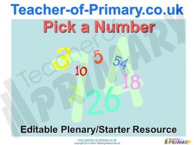 Pick a Number Plenary