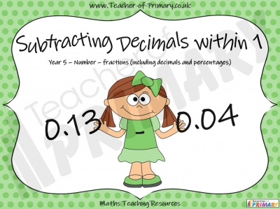 Subtracting Decimals Within 1  - Year 5