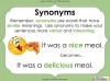 Synonyms - Year 3 and 4 (slide 23/24)