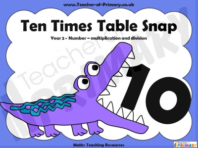 Ten Times Table Snap teaching resource