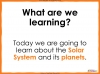 The Solar System - Year 5 (slide 2/46)