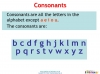 Vowels and Consonants (slide 15/22)
