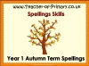 Year 1 Autumn Term Spellings