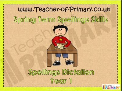Year 1 Spring Term Spellings teaching resource